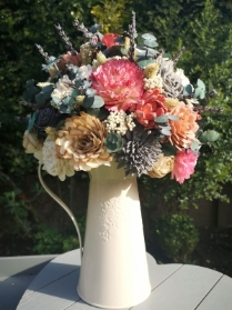 Sola wood flower vase arrangement hand painted with preserved Eucalyptus