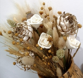 Hand  tied Dried Flowers Bouquet with eco friendly Sola Wood Flowers