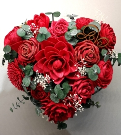 Red Roses Rattan Heart Box