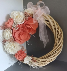 Sola wood flower peach willow wreath