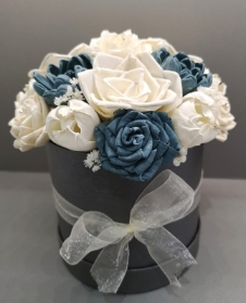 Sola wood flower steel blue forever rose hat box